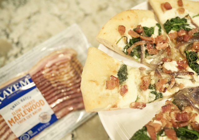 Maple Bacon, Spinach and Caramelized Onion Pizza